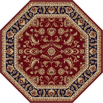Clarence Red/Navy Blue Area Rug Rug Size: Octagon 8