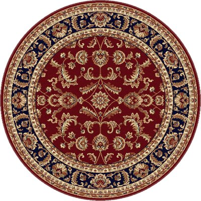 Clarence Red/Navy Blue Area Rug Rug Size: Round 6