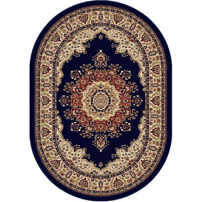 Clarence Navy/Blue Area Rug Rug Size: Oval 67 x 96