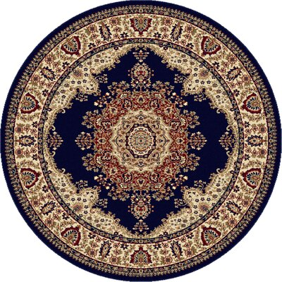 Clarence Navy/Blue Area Rug Rug Size: Round 8
