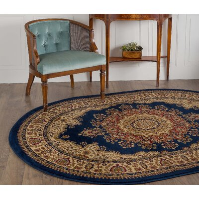 Clarence Navy/Blue Area Rug Rug Size: Oval 53 x 73