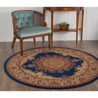 Clarence Navy/Blue Area Rug Rug Size: Round 5'3
