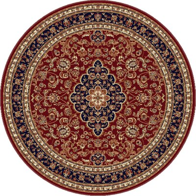 Clarence Red Area Rug Rug Size: Round 6