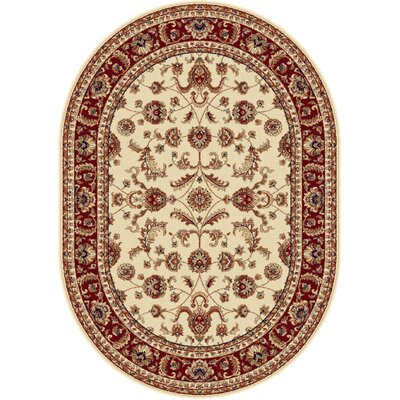 Clarence Beige Area Rug Rug Size: Oval 53 x 73