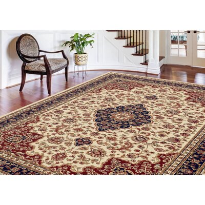 Clarence Machine Woven Polypropylene Beige Area Rug Rug Size: Rectangle 8 x 11