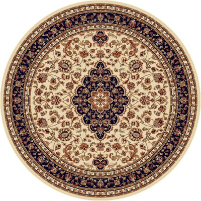Clarence Machine Woven Polypropylene Beige Area Rug Rug Size: Round 8
