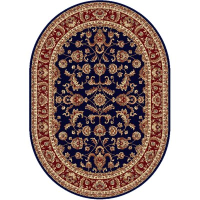 Clarence Navy Blue/Red Area Rug Rug Size: Oval 5 x 8