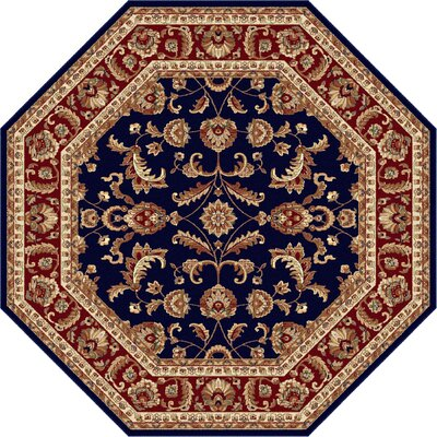 Clarence Navy Blue/Red Area Rug Rug Size: Octagon 6