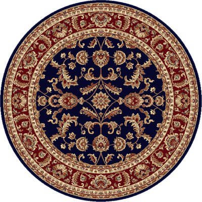 Clarence Navy Blue/Red Area Rug Rug Size: Round 8