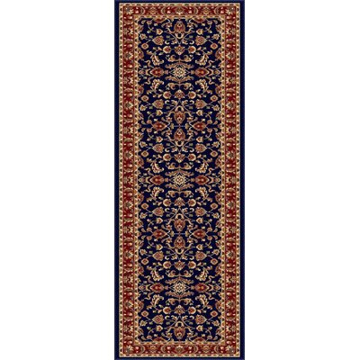 Clarence Navy Blue/Red Area Rug Rug Size: Runner 2 x 8