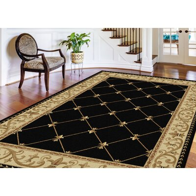 Clarence Black/Gold Area Rug Rug Size: Rectangle 7 10 x 10 3