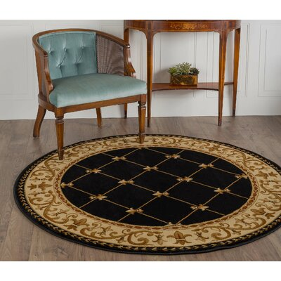 Clarence Black/Gold Area Rug Rug Size: Round 8