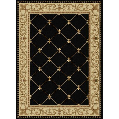 Clarence Black/Gold Area Rug Rug Size: 710 x 103