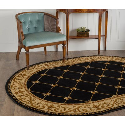 Clarence Black/Gold Area Rug Rug Size: Oval 53 x 73