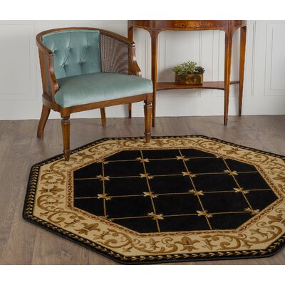 Clarence Black/Gold Area Rug Rug Size: Octagon 53