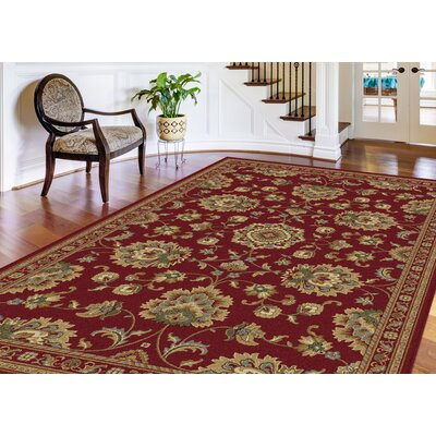 Clarence Red Area Rug Rug Size: Rectangle 89 x 123