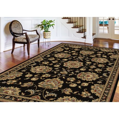 Clarence Black/Gold Area Rug Rug Size: Rectangle 9 x 12