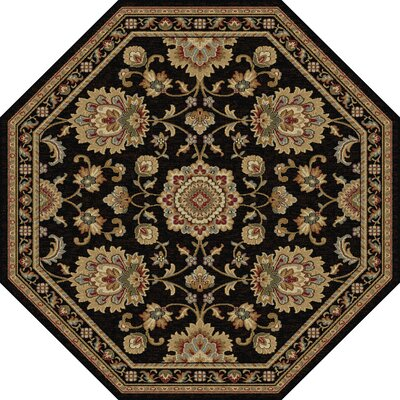 Clarence Black/Gold Area Rug Rug Size: Octagon 8