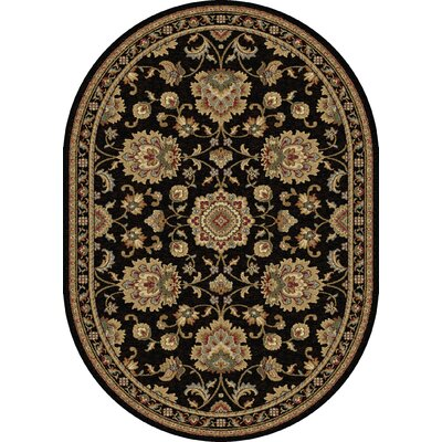 Clarence Black/Gold Area Rug Rug Size: Oval 7 x 10