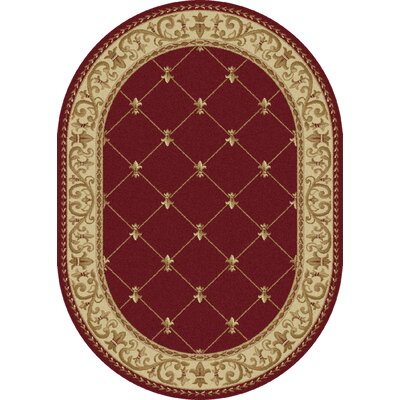 Clarence Red Area Rug Rug Size: Oval 6'7