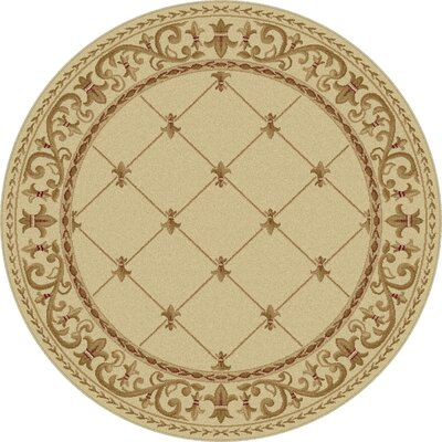 Clarence Ivory Area Rug Rug Size: Round 53