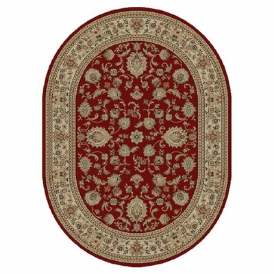 Clarence Red Border Rug Rug Size: Oval 53 x 73
