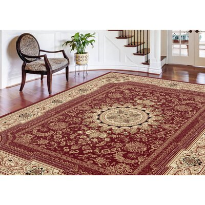 Clarence Dark Red/Creamy Beige Area Rug