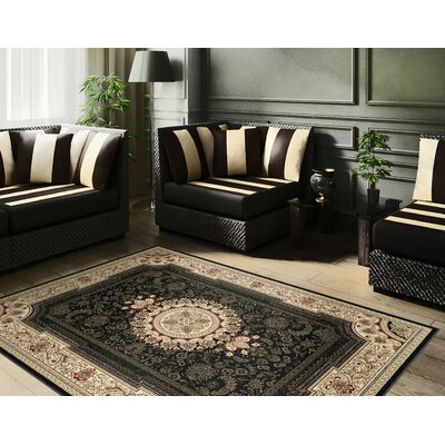 Clarence Deep Black/Green Area Rug