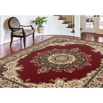 Clarence Deep Red/Beige Area Rug
