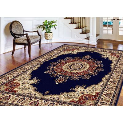 Clarence Beige/Red/Navy Blue Area Rug