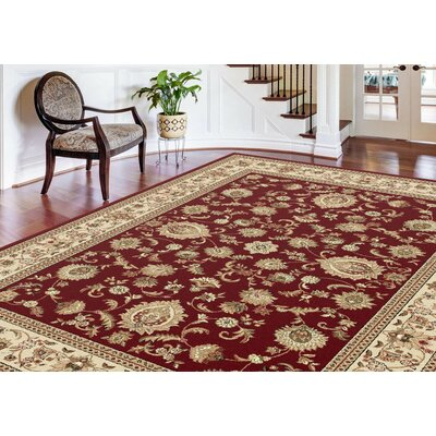 Clarence Beige/Deep Red Area Rug