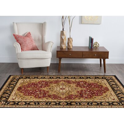 Sacha Red/Beige/Black Area Rug Rug Size: Rectangle 93 x 126