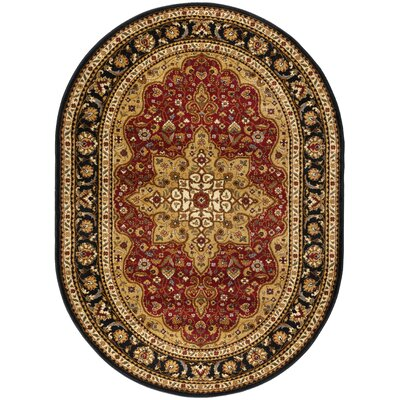 Sacha Red/Beige/Black Area Rug Rug Size: Oval 67 x 96