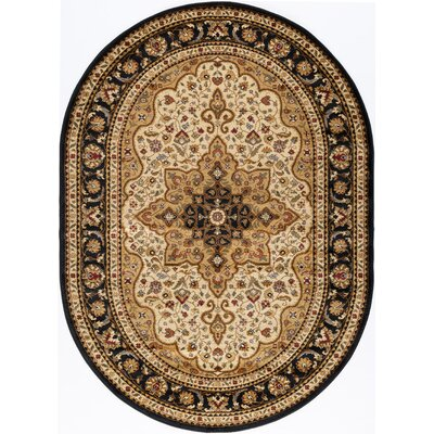 Sacha Black/Beige/Red Area Rug Rug Size: Oval 67 x 96