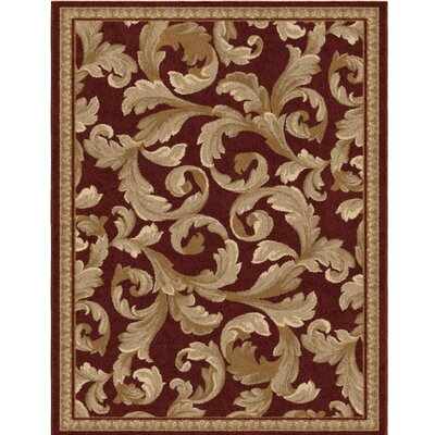 Lilliana Scroll Leaf Spanish Red/Beige Area Rug