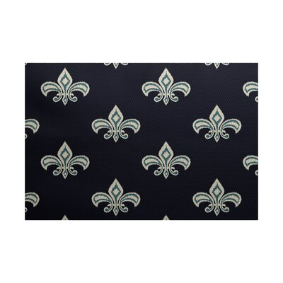 Bayliff Fleur de Lis Ikat Print Navy Blue Indoor/Outdoor Area Rug Rug Size: Rectangle 2 x 3