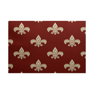 Bayliff Fleur de Lis Ikat Print Orange Indoor/Outdoor Area Rug Rug Size: 2 x 3