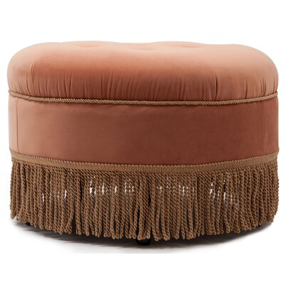 Opehlia Decorative Round Ottoman Upholstery: Orange