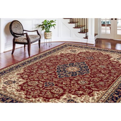 Clarence Red/Ivory/Navy Blue Area Rug