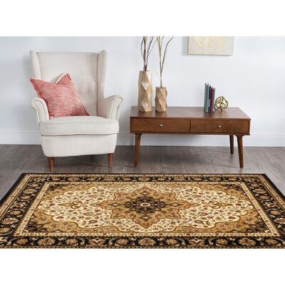 Sacha Black/Beige/Red Area Rug Rug Size: 93 x 126