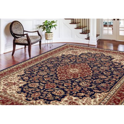 Clarence Navy Blue/Red/Ivory Area Rug