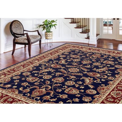 Clarence Navy Blue/Red/Gold Area Rug