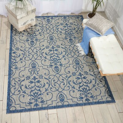 Bedervale Ivory/Blue Indoor/Outdoor Area Rug Rug Size: Rectangle 53 x 73