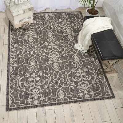 Bedervale Charcoal Indoor/Outdoor Area Rug Rug Size: Rectangle 36 x 56