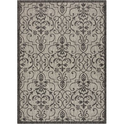 Bedervale Ivory/Charcoal Indoor/Outdoor Area Rug Rug Size: Rectangle 53 x 73