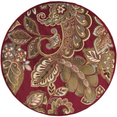 Needham Dark Red Indoor Area Rug Rug Size: Round 8