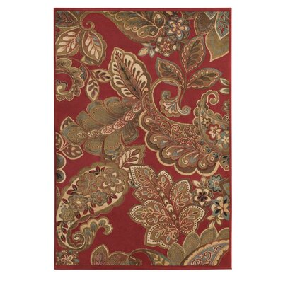 Needham Red Area Rug Rug Size: 53 x 76