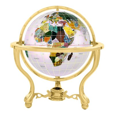 Gemstone Globe with Opalite Ocean and Commander 3-Leg Table Stand Size: 4