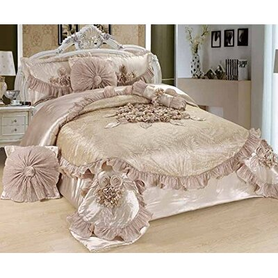 Ferndale Sweet Victorian 6 Piece Satin Comforter Set Size: Queen