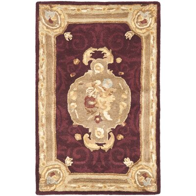Bedgood Royal Maroon Beige Area Rug Rug Size: Rectangle 3 x 5